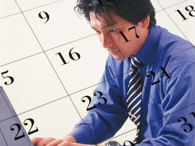 Man typing at computer overlaid by a calendar