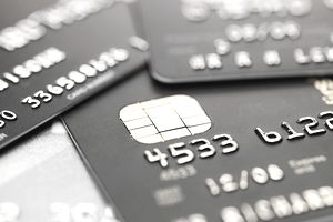 A close up of several credit cards
