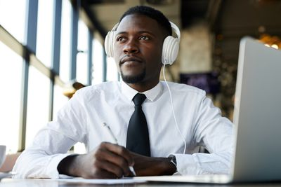 Man listening to a podcast
