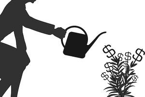 A woman watering her money tree of high-interest accounts