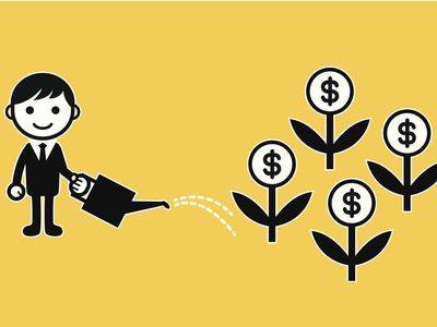 A illustration of a man with a watering can watering plants with dollar signs flowers to indicate the concept of growing savings