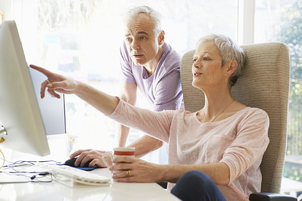 Senior business owners assessing their retirement plan