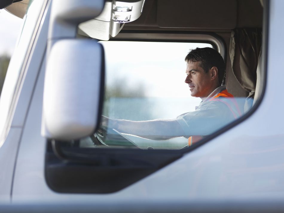 Truck driver in cab