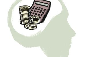 Illustration of stacked coins and calculator in human brain