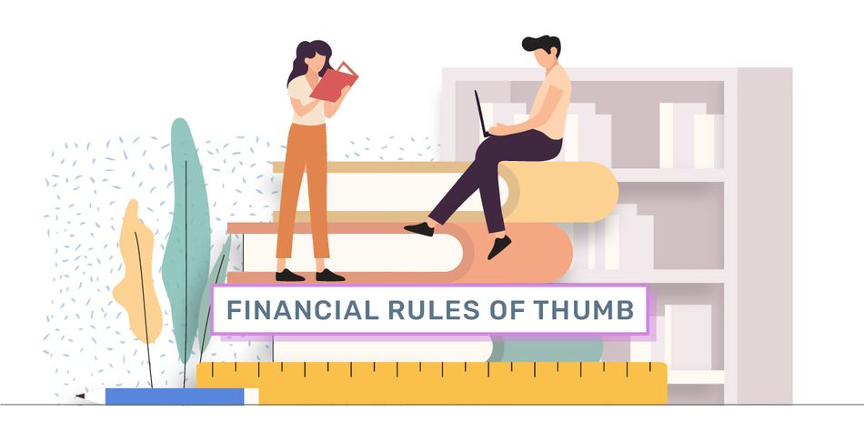 "graphic showing two people on top of stack of books with a ruler and pencil. the words ""financial rules of thumb"" are in the middle"
