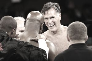 Mitt Romney and Evander Holyfield meet at center ring before a charity boxing event on May 15, 2015 in Salt Lake City, Utah. The event was held to raise money for 'Charity Vision' a charity that aims to restore sight to the blind and visually impaired.
