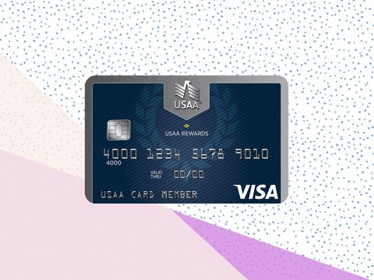 The face of the USAA Rewards Visa credit card on a tricolor background.