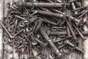 Collection of rusty bolts and nuts