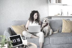 Woman sitting on couch with dog, working on laptop