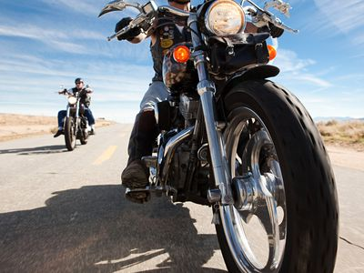 People riding motorcycles