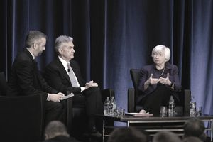 Fed Chair Jerome Powell with Former Fed Chair Janet Yellen