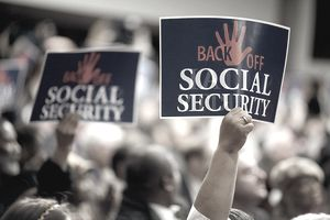 Sign showing not borrowing from social security trust fund