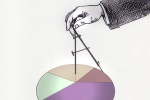 A hand using a compass to form a pie chart