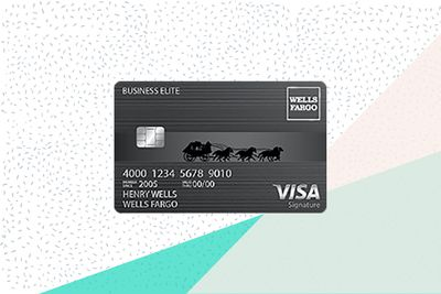 The Wells Fargo Business Elite credit card on a tri-color background