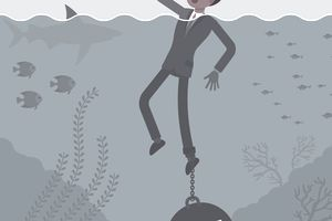 Businessman drowning chained with a weight Debt