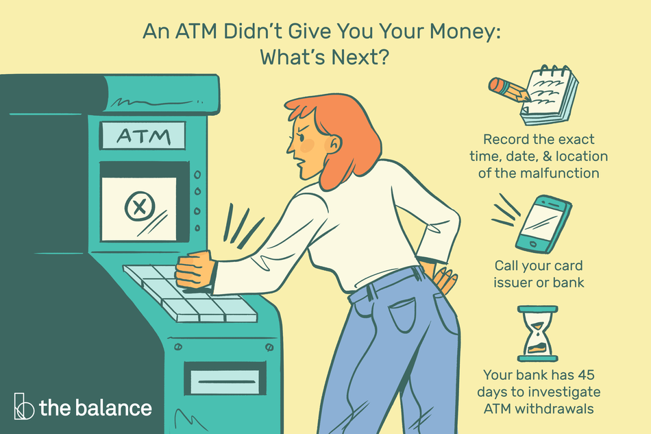 "Image shows an angry woman slamming her fist on an ATM machine. Text reads: ""An ATM didn't give you your money: what's next? Record the exact time, date, and location of the malfunction. Call your card issuer or bank. Your bank has 45 days to investigate ATM withdrawals."""