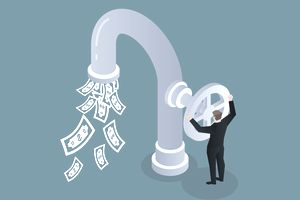 Illustration of man opening faucet valve to control money outflow