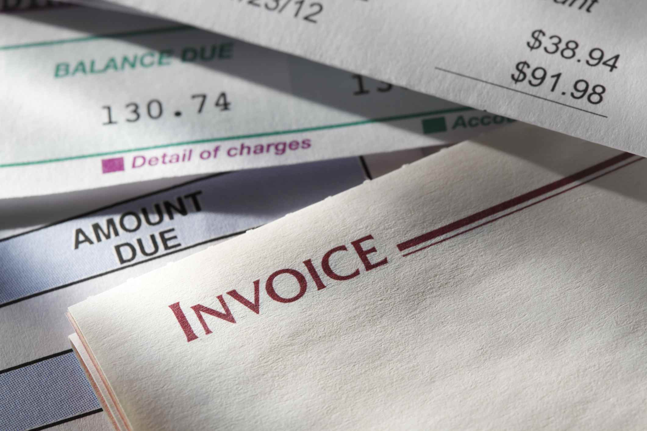invoices and bills from a financial advisor