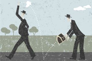 illustration of man tossing trash over his shoulder which turns into a treasure chest for the man behind him