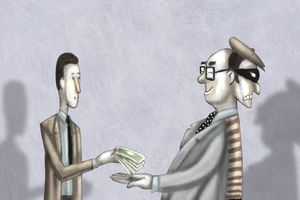 Illustration of a man giving his money to a businessman who has two faces representing bad credit loan scams.