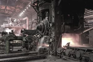 The inside of a steel mill