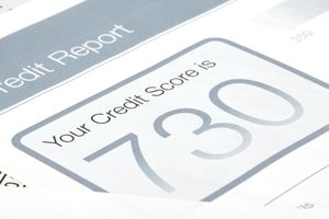 a close up of a page showing a credit score