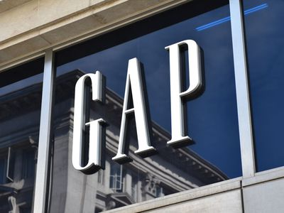 Gap clothing store logo on side of building.