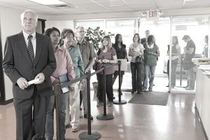 Long Line of People at Unemployment Office