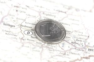 Germany country decal with one Euro coin