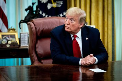 WASHINGTON, DC - MAY 01: U.S. President Donald Trump sits a the Resolute Desk while announcing that the Food and Drug Administration issued an emergency approval for the antiviral drug remdesivir in the Oval Office at the White House May 01, 2020 in Washington, DC. A federal government trial found that patients with COVID-19 receiving Gilead Sciences' remdesivir recovered more quickly but the drug did not significantly reduce fatality rates. (Photo by Erin Schaff-Pool/Getty Images)