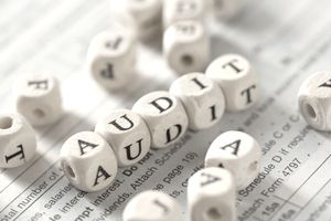 "A closeup of lettered cubes spelling out ""audit"""