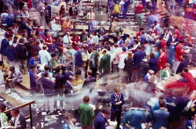 Traders on the floor of a stock exchange