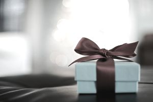A gift box and bow