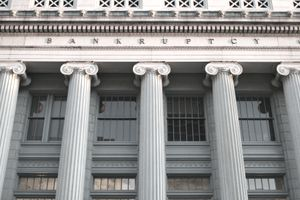 "The courthouse for bankruptcies in Dayton, Ohio, showing Ionic-style columns and the word ""BANKRUPTCY"""