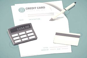 Illustration of a credit card statement, pen, calculator, and credit card to determine if minimum payment should be paid