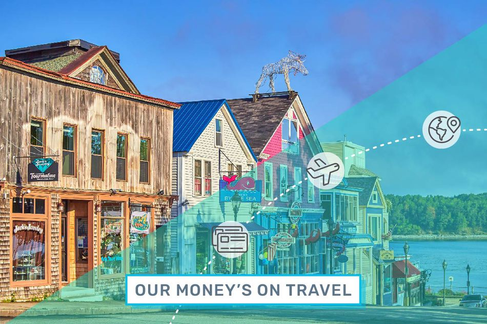 """A quaint small town main street beckons visitors under an illustrated overlay that reads """"Our Money's on Travel."""""""