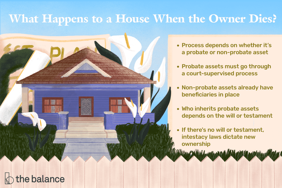 "This illustration describes what happens to a house when the owner dies including ""Process depends on whether it's a probate or non-probate asset,"" ""Probate assets must go through a court-supervised process,"" ""Non-probate assets already have beneficiaries in place,"" ""Who inherits probate assets depends on the will or testament,"" and ""If there's no will or testament, intestacy laws dictate new ownership."""