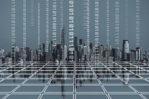 Digital concept of blocks, binary code, and skyline of U.S. financial center