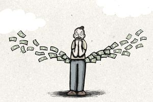 Illustration of person losing money