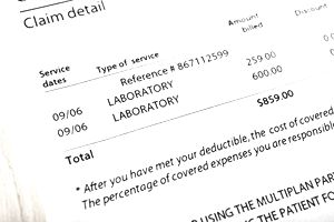 Closeup of a medical bill for laboratory services