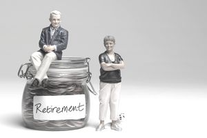 Dolls posed next to a jar of change marked retirement from a cash balance plan.
