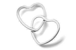 Two interlocking heart-shaped rings