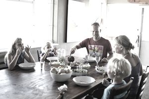 Family at healthy dinner