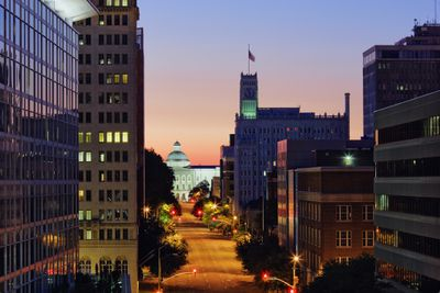 High angle view of Jackson, Mississippi cityscape at night