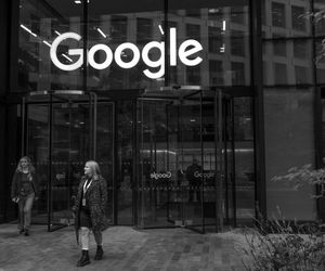 A woman walks out of Google's offices.