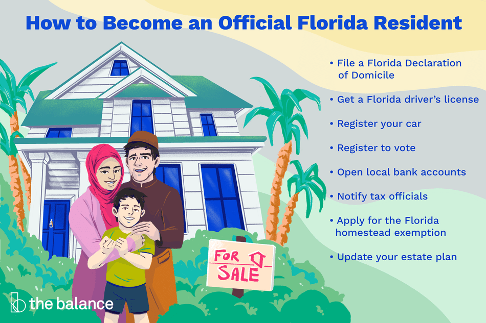 How to Become an Official Florida Resident: File a Florida Declaration of Domicile. Get a Florida driver's license. Register your car. Register to vote. Open local bank accounts. Notify tax officials. Apply for the Florida homestead exemption. Update your estate plan.