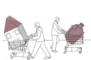Businessmen pushing house and piggy bank in shopping carts in opposite directions