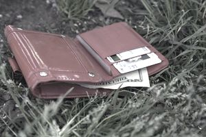 A lost wallet open and lying in the grass