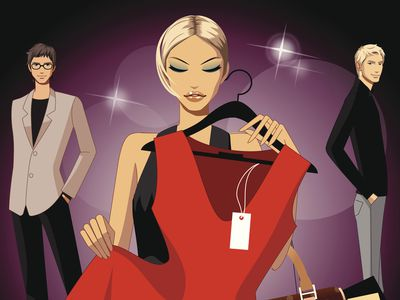 Illustration of a woman embracing a red dress with price tag still on, as two males flank her admiringly as she increases her credit card debt with the purchase