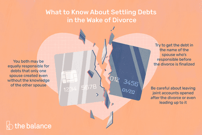 """An infographic of a broken credit card and a broken heart to represent the need to settle debts during a divorce. The headline is """"What to know about settling debts in the wake of divorce."""" The text is """"You both may be equally responsible for debts that only one spouse created even without the knowledge of the other spouse. Try to get the debt in the name of the spouse who's responsible before the divorce is finalized. Be careful about leaving joint accounts open after the divorce or even leading up to it."""""""